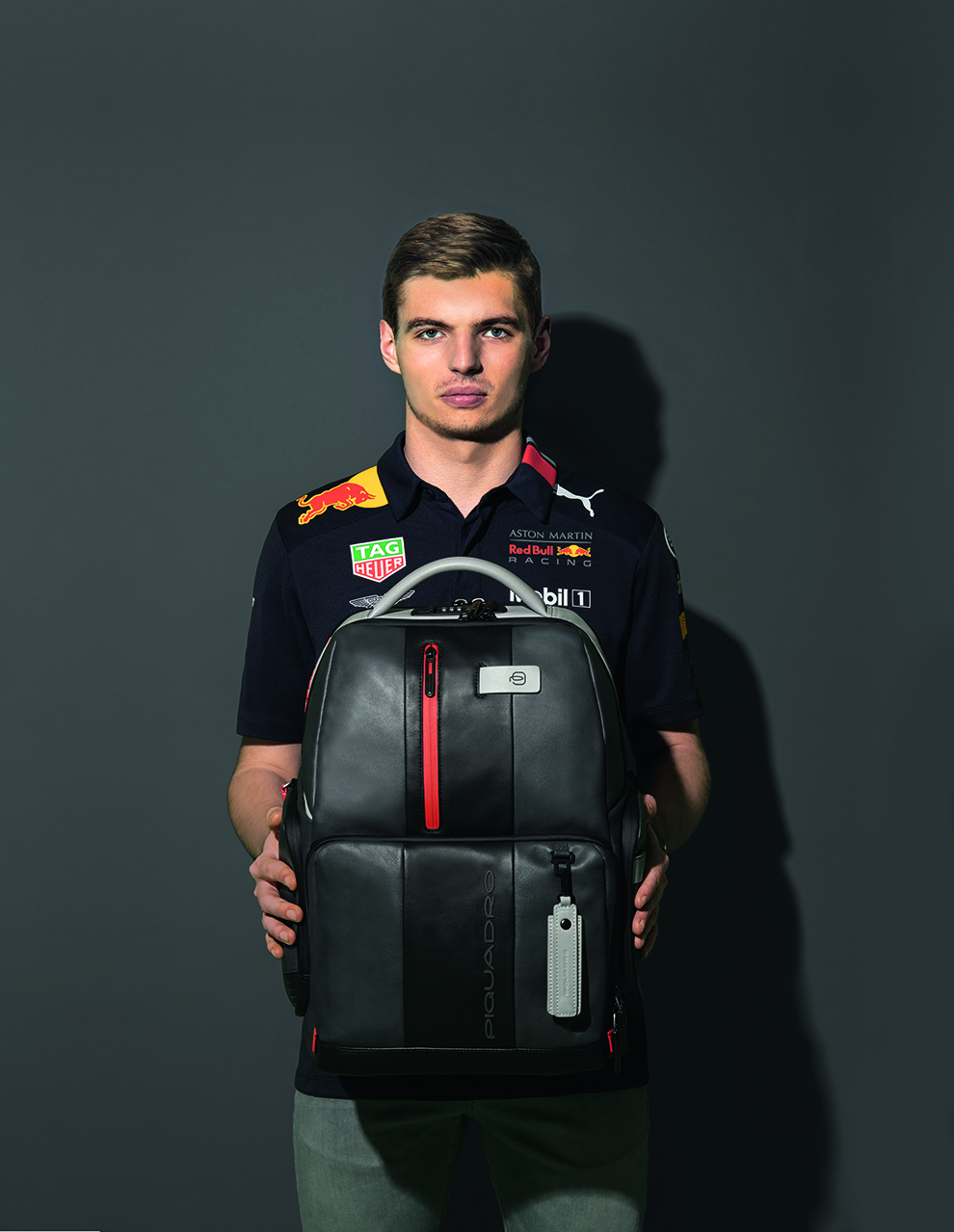 Max Verstappen with Piquadro Brief backpack